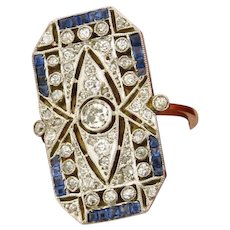 Stunning Original Art Deco Diamonds Sapphires Platinum 18K Yellow Gold Ring