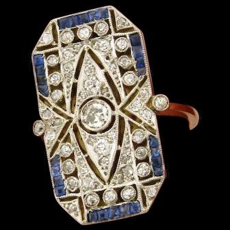 Stunning Original Art Deco Diamonds Sapphires Platinum 18K Yellow Gold Ring
