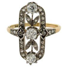 Antique Edwardian Old Mine Cut Diamonds Platinum 18K Yellow Gold Ring