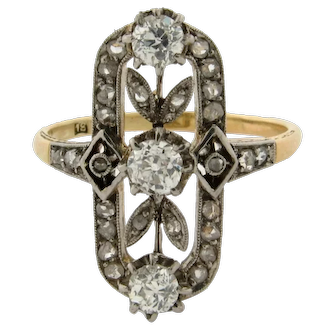 Antique Edwardian Old Mine Cut Diamonds Platinum 18K Yellow Gold Ring