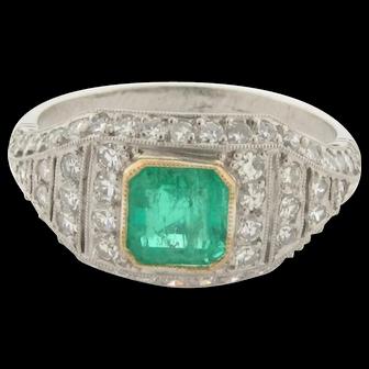 Vintage .74 Carat Emeralds Diamonds Platinum Ring