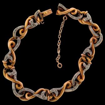 Antique Art Nouveau French Diamonds Platinum 18k Yellow Gold Infinity Bracelet