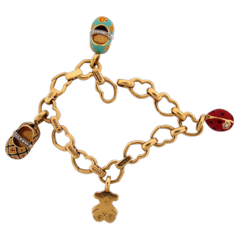 Vintage Aaron Basha Large Open Heart Charm Bracelet With Four Charms 18K Yellow Gold 45g