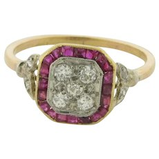 Original Art Deco Diamonds Rubies Platinum Rose Gold Ring