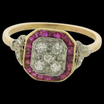 Original Art Deco Diamonds Rubies Platinum Rose Gold Ring