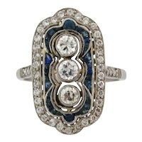 Stunning Art Deco Diamonds Sapphires Platinum Ring