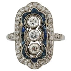 Stunning Art Deco Diamonds Sapphires Platinum Ring