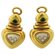 Rare Vintage Chopard Happy Diamonds Emerald 18K Yellow Gold Earrings