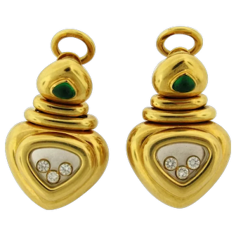 Rare Vintage Chopard Happy Diamonds Emerald 18K Yellow Gold Earrings