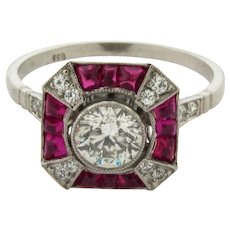 Stunning Art Deco Ruby Diamond Platinum .70 Center Diamond Ring