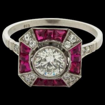 Stunning Art Deco Ruby Diamond Platinum .70 Center Diamond Ring
