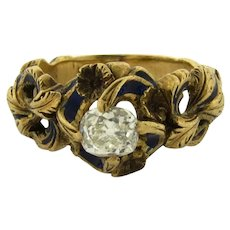 Antique Art Nouveau .65 C Old Cushion Cut Diamond Enamel 18k Yellow Gold Ring