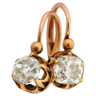 Antique French Old Mine Cushion Cut 1.30 Carats Diamond 18K Yellow Gold Earrings