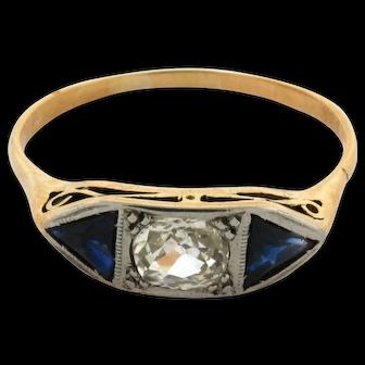 Original Art Deco Cushion Cut Diamond .35 C Sapphires 18K Yellow Gold Plat Ring