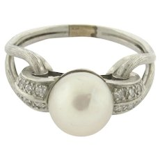 Original Art Deco Pearl Diamond Platinum Knot Ring C.1930
