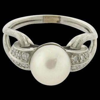 Original Art Deco Pearl Diamond Platinum Knot Ring C.1930