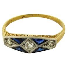 Original Art Deco Sapphires Diamonds Platinum 18K Yellow Gold Ring C.1930