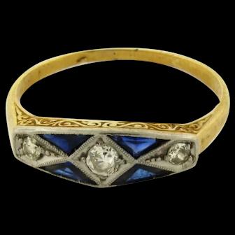 Original Art Deco Sapphires Diamonds Platinum 18K Yellow Gold Ring C.1930
