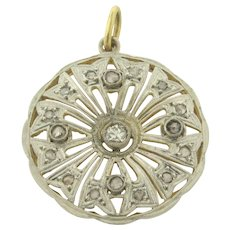 Original Art Deco Diamonds Filigree Platinum 18K Yellow Gold Pendant