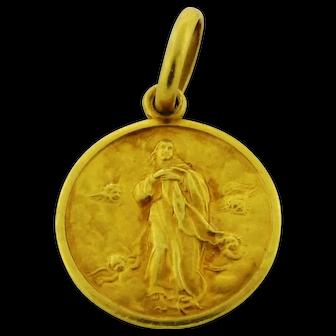 Vintage Sculptured Religious Pendant 18K Yellow Gold