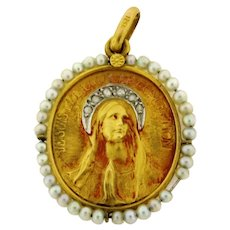 Antique Religious Pearl Diamond 18k Yellow Gold Pendant