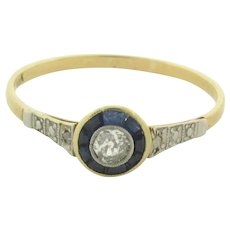 Original Art Deco Sapphires Diamonds Platinum 18K Yellow Gold Circle Ring
