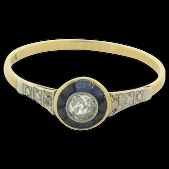Original Art Deco Sapphires Diamonds Platinum 18K Yellow Gold Circle Ring