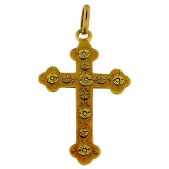 Antique Victorian French Multi Color Gold Flower Cross