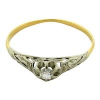 Original Art Deco Diamonds Platinum Filigree 18K Yellow Gold Ring