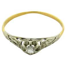 Original Art Deco Diamonds Platinum Filigree 18K Yellow Gold Ring