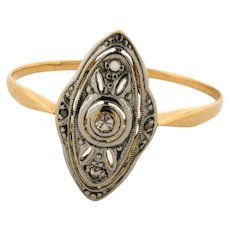 Original Art Deco Marquise Shape Diamonds Platinum Filigree 18K Yellow Gold Ring