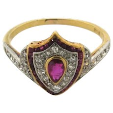 Antique Edwardian Shield Ruby Diamond Platinum 18K Gold Shield Design Ring