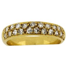 Vintage 22 Diamonds .60 Carats 18K Yellow Gold Ring Band
