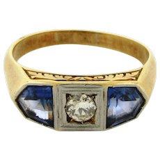 Antique Art Nouveau Diamond Iolite 18K Yellow Gold Mens Ring