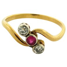 Original Art Deco Ruby Old Mine Cut Diamond 18K Yellow Gold Ring