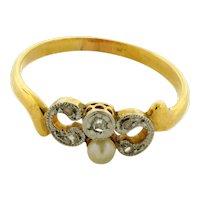 Original Art Deco Rose Cut Diamonds Pearl Platinum 18K Yellow Gold Ring