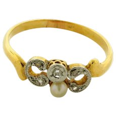 Original Art Deco Rose Cut Diamonds Pearl Platinum 18K Yellow Gold Ring