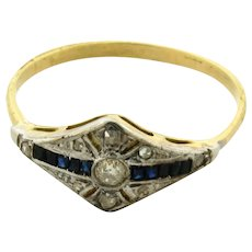 Original Art Deco Diamond Sapphires Platinum 18K Yellow Gold Ring