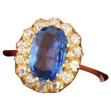 Original Art Deco Natural 2.75 Carat Sapphire Diamonds 18K Yellow Gold Ring