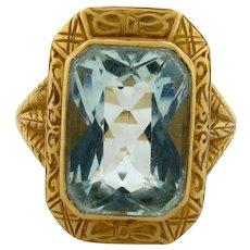Antique Art Nouveau 8.5 Carat Aquamarine 18K Yellow Gold Ring