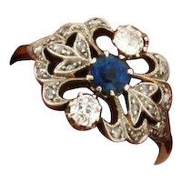 Original Art Deco Sapphire Diamonds Platinum 18K Yellow Gold Ring
