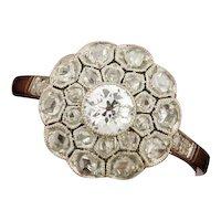 Stunning Original Art Deco Old Mine & Rose Cut Diamonds Platinum Ring