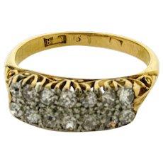 Antique Art Nouveau 14 Old Mine Cut Diamonds 18K Yellow Gold Ring