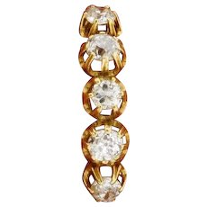 Original Art Deco 5 Old Mine Cut Diamonds 1 Carat 18K Yellow Gold Ring