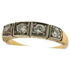Antique Art Nouveau 4 Diamond Platinum 18K Yellow Gold Ring