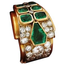 Stunning Retro Vintage Emeralds Diamonds 18K Yellow Gold Ring