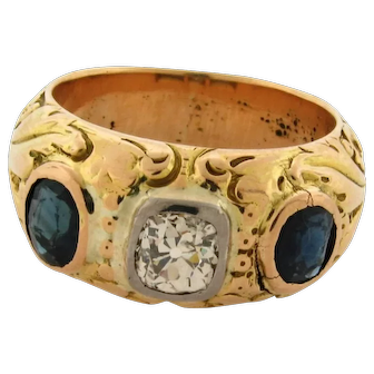 Antique Art Nouveau 1.00 Carat Cushion Cut Sapphires 18K Yellow Gold Mens Ring