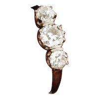 Original Art Deco Three Diamond 1.00 Carats Platinum Ring