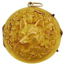 Antique Art Nouveau Fox Floral 18K Yellow Gold Locket Pendant