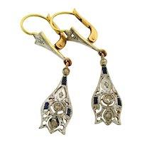 Original Art Deco Diamonds Sapphires Platinum 18K Yellow Gold Earrings